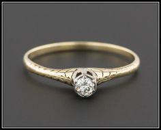 Vintage Art Deco Diamond Engagement Ring 14k by TrademarkAntiques