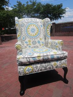 Would love a couple of fun reupholstered wingbacks for the living room
