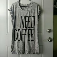 Coffee Sleep shirt. Only worn once. Super wrinkly from being stored away. Cut off the huge F21 tag since it was super big and itchy. Forever 21 Tops Tees - Short Sleeve