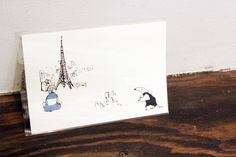 Beautiful eiffel tower, girl and anteater illustration. 女の子やエッフェル塔やアリクイの素敵なイラスト
