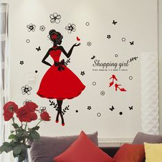 Crazy Shopping Lady  Wall Stickers Shop Decor PVC Red Skirt Wall Paper Special for Dress shop Shopping Mall Vinyl Wall