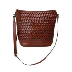 f87a3c6aaca6 Vintage Etienne Aigner Handbag    Braided Adjustable Cross-body Shoulder Bag     Brown Basket-weave Woven Leather Purse with Adjustable Strap