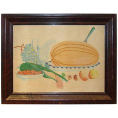 Still Life Watercolor with Watermelon and Corn | 1stdibs.com