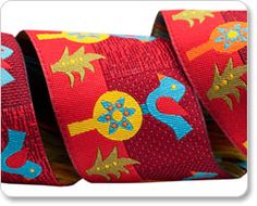 Red and Blue Folkloric Blue Bird Ribbon - Sue Spargo