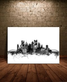 #Pittsburgh  #Skyline  #Watercolor Print Pittsburgh by FineArtCenter