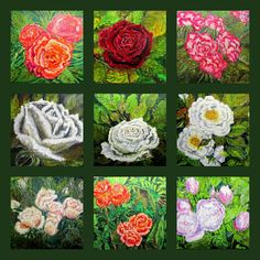 GALERIA PALOMO MARIA LUISA: ROSAS......COLLAGE Napkins, Collage, Painted Flowers, Roses, Collages, Dinner Napkins, Collage Illustration, Colleges