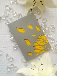 sunflower laser cut modern rustic wedding invitation bifold simple grey and yellow card DIY printable
