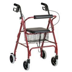 Go Lite Aluminum Rollator Loop Brake Style by Drive. $119.00. 4 wheel, loop brake style. 6 inch castors that are great for indoor and outdoor use. Padded seat and convenient basket are standard. Basket under the seat. Loop brake made with plastic internal components and one-touch feature. Manufactured with standard welds. Rollator is fully assembled; just assemble the seat and basket and you're ready to go. Limited lifetime warranty. Weight limit: 300 lbs. Handle he...