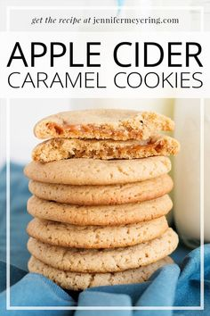 Yummy apple cider cookies stuffed with caramel that makes a ooey-gooey center perfect with a mug of coffee or hot tea. Top Recipes, Best Dessert Recipes, Fall Recipes, Sweet Recipes, Snack Recipes, Drink Recipes, Party Recipes, Cookie Desserts, Fun Desserts