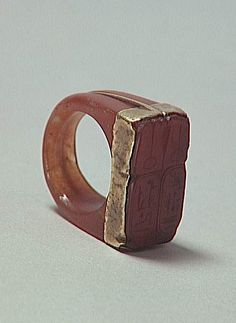 ring, with cartouches of Ramses II and Nefertari, gold and carnelian, Egyptian, 19th dynasty, ca. 1279-1213 BCE (Louvre )