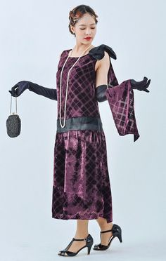 Beautiful 1920s evening dress in purple cut velvet with a train purple Great Gatsby dress 1920s cut velvet flapper dress Charleston dress $130.00 AT Vintagedancer.com