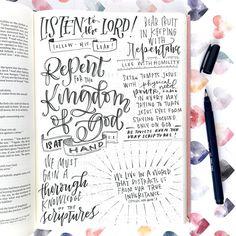 Bible Journaling For Beginners, Bible Study Journal, Scripture Journal, Prayer Journals, Art Journaling, Sermon Notes, Bible Notes, Scripture Art, Bible Art