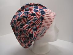 Stars and Stripes bouffant scrub hat for; nurses, doctors, surgical techs, vet…