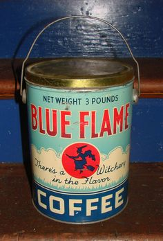 ANTIQUE RARE LG COFFEE TIN W/HANDLE THE BLUE FLAME W/ WITCH COFFEE