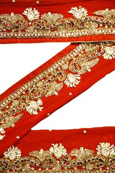 Vintage Sari Border Antique Hand Beaded Indian Trim Sewing Maroon Lace Wide Selection; Sewing