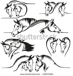 Six horse's heads compositions Brush-drawing based images consisting of two or three horse's heads. For advertisement of stables, studs and breeders.