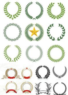 Laurel, Wreaths, pattern, design free vector