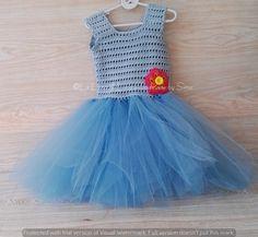 Abito bimba azzurro ad  uncinetto e tulle abito tutu, by La Luna di Lana - Handmade by Simo, 45,00 € su misshobby.com
