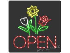 "L6006 - Open Flower LED Sign (Size 16""H X 16""L X 1""D) Sign Solutions, Open Signs, Superhero Logos, Led, Size 16, Flowers, Royal Icing Flowers, Floral, Florals"