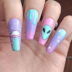 Edgy Nails, Grunge Nails, Dope Nails, Swag Nails, Edgy Nail Art, Summer Acrylic Nails, Best Acrylic Nails, Disney Acrylic Nails, Alien Nails
