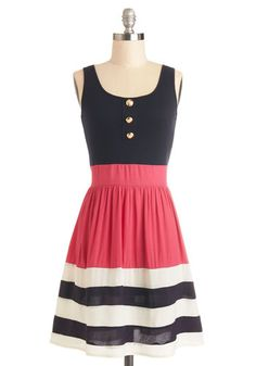 Schooner Said Than Done Dress in Pink - Blue, Pink, Stripes, Buttons, Casual, Nautical, A-line, Tank top (2 thick straps), Good, Scoop, Knit...