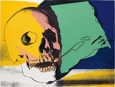 Andy Warhol - Skull 158 | Part of Andy Warhol's Skulls series, Skull 158 is one of four screenprints created with vivid colors that stands in contrast to the photographic image of a human skull resting on a flat surface which this image rendures.