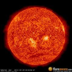 The hourly sun (at 10:45 pm  UTC on 22 February 2013)