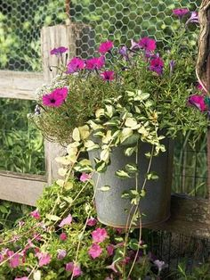 Petunias and periwinkle spill out of an old bucket. Wire the handle to a fence for an easy above-the-ground container garden