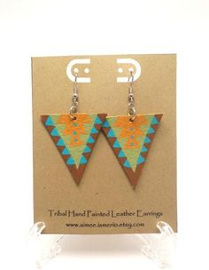 Hand Painted Aztec Tribal Leather Earrings by AimeeIsmerio on Etsy, $14.00