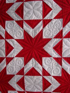 Mike's red and white quilt, closeup of quilting by Quilt vine