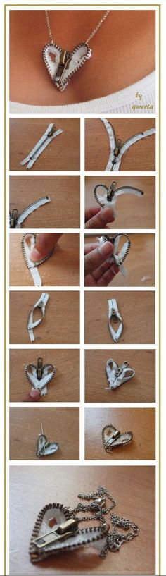 Zipper Heart Necklace diy crafts craft ideas easy crafts diy ideas crafty easy diy diy jewelry craft necklace diy necklace jewelry diy