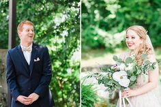 groom's fabulous reaction to seeing his bride at the First Look. And the bridecarring a huge wedding bouquet smiling at her groom in the upper outdoor ceremony area at The Venue Chattanooga TN Garden Wedding, Wedding Day, Wedding Bouquets, Wedding Dresses, Outdoor Ceremony, Groom, Reception, Bride, Inspiration