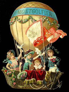 Alte Oblaten Glanzbilder, scraps: Riesen Prachtoblate: Kinder im Ballon,um 1890