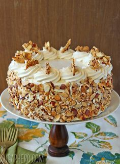 Burnt Almond Cake, with almond pastry cream filling, garnished with candied almonds.