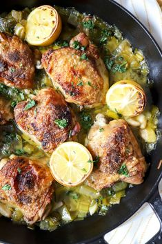 Braised Chicken Thighs with Leeks - The perfect evening meal for the chilly spring nights that still remain.