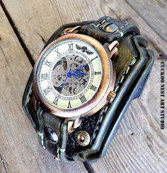 Burned looking leather watch leather wrist от CuckooNestArtStudio