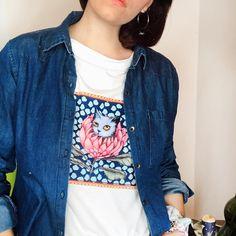 Imposible elegir una foto...porque esta remera es bellísima por donde la mires ♥️ Remera Protea Azul ♥️  . . . . . . #sofialapenta #estampasparalupa #animallover #catlover #fashion #fashiondesign #drawing  #surrealism #arte #sketchbook  #work #artwork #studio #visualsoflife #poetryofsimplethings Cat Lover, Drawing, Denim, Jackets, Fashion, Blue Nails, Elegant, Art, Photos