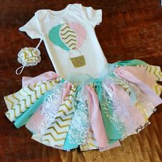 Hot Air Balloon 3 Piece Pink, Mint, & Gold Birthday Outfit Including Onesie/Shirt, Fabric Tutu, and Headband/Hair Clip