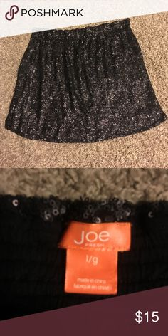 Black sequin mini skirt. Never worn Joe Fresh black sequin skirt with pockets! Easy way to dress up a tee! Elastic waistband for comfort and ease. 17 inches long Joe Fresh Skirts