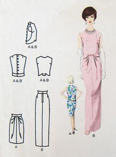 Vogue Paris Original 1613 by Lanvin   1960s evening dress