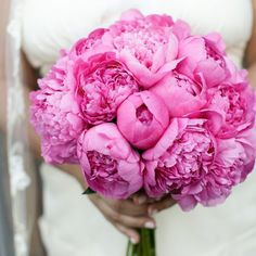 This peony bouquet is definitely pretty in pink! #wedding #flowers #pink #peonies