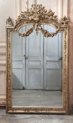 Antique French Louis XVI Gilded Mirror   Gilded Mirrors   Inessa Stewart's Antiques #antique #mirror