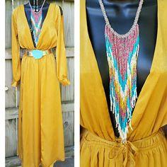 COWGIRL GYPSY Boho Mustard Romper Dress  Country WESTERN  Www.baharanchwesternwear.com