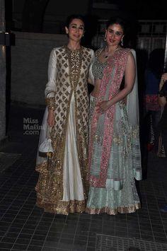 Sisters Karishma & Kareena at Soha Ali Khan & Kunal Kemmu's Wedding Reception, Jan 25, 2015, Both in http://www.ManishMalhotra.in/landing/