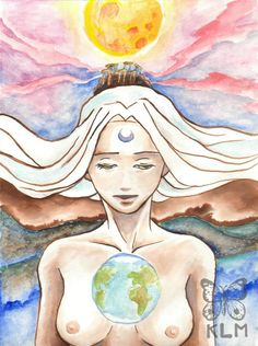 White Moon Goddess ORIGINAL Watercolor by AriesNamarie on Etsy, $50.00