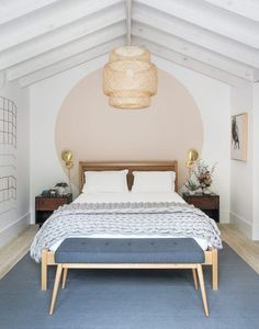 Home Decoration Ideas Living Room Scandinavian inspired fresh bedroom wall paint dea.Home Decoration Ideas Living Room Scandinavian inspired fresh bedroom wall paint dea Home Bedroom, Bedroom Ideas, Master Bedroom, Bedroom Lamps, Headboard Ideas, Bedroom Beach, Bed With No Headboard, Bedroom Wall Decorations, Wall Headboard