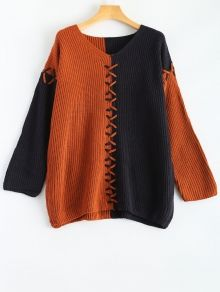Color Block V Neck Oversized Sweater