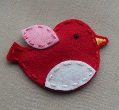 Big Tweet Bird Red Wool Felt Snap Hair Clip by BerryCoolDesigns