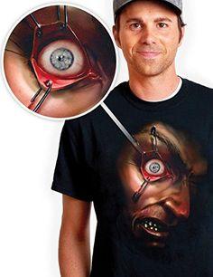 Digital Dudz Bewegliches Auge T-Shirt Halloween Hektisches Auge