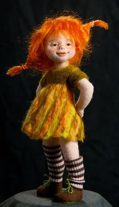Art Doll Tutorial, Pippi Longstocking, Needle Felted, Wool Felting, Needle Felting Tutorials, Kawaii Doll, Cute Toys, Doll Maker, Felt Dolls